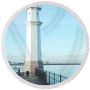 Newhaven Harbour Lighthouse Edinburgh Round Beach Towel