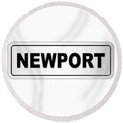 Newport City Nameplate Round Beach Towel