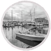 Newport Rhode Island Harbor Round Beach Towel