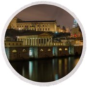 Night At Fairmount Waterworks Panorama Round Beach Towel by Bill Cannon