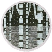 Night Birches Round Beach Towel