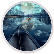 Night Blues Reflections  Round Beach Towel
