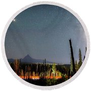 Night On Santiam Pass Round Beach Towel