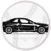 Nissan Skyline Gt-r R34 1989 Black And White Illustration Round Beach Towel