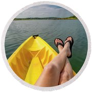 No Particular Place To Go In Maine Round Beach Towel