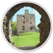 Norham Castle And Entrance Gate Round Beach Towel