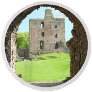 Norham Castle And Tower Through The Entrance Gate Round Beach Towel