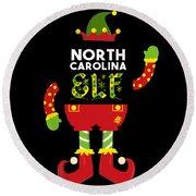 North Carolina Elf Xmas Elf Santa Helper Christmas Round Beach Towel