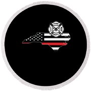 North Carolina Firefighter Shield Thin Red Line Flag Round Beach Towel