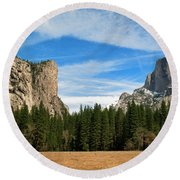 North Dome And Half Dome, Yosemite National Park Round Beach Towel