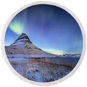 Northern Lights Atop Kirkjufell Iceland Round Beach Towel by Nathan Bush