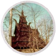 Norwegian Stave Church Round Beach Towel