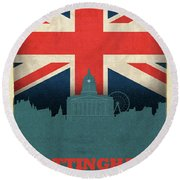 Nottingham England City Skyline Flag Round Beach Towel