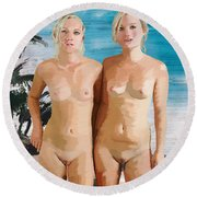 Nude Twins Round Beach Towel