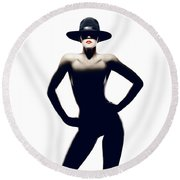 Nude Woman With Hat Round Beach Towel