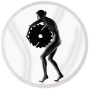 Nude Woman With Saw Blade 1 Round Beach Towel