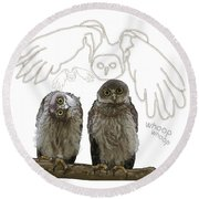 O Is For Owl Round Beach Towel