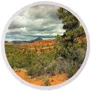 Oak Creek Baldwin Trail Blue Sky Clouds Red Rocks Scrub Vegetation Tree 0249 Round Beach Towel