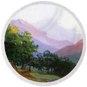 Oaks In The Mountains Of Carrara Round Beach Towel