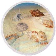 Ocean Shells Round Beach Towel