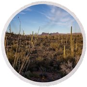 Ocotillo Twilight Round Beach Towel by Lon Dittrick