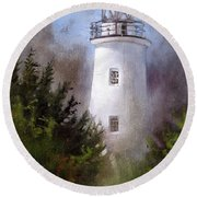 Ocracoke Light Round Beach Towel