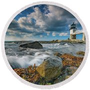 October Morning At Marshall Point Round Beach Towel