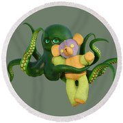 Octopus Green And Bear Round Beach Towel