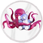 Octopus Pink With Bear Round Beach Towel