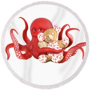 Octopus Red With Bear Round Beach Towel