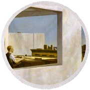 Office In A Small City  Round Beach Towel