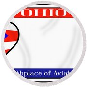 Ohio License Plate Round Beach Towel