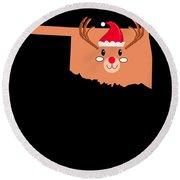 Oklahoma Christmas Hat Antler Red Nose Reindeer Round Beach Towel