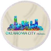 Oklahoma City Watercolor Round Beach Towel
