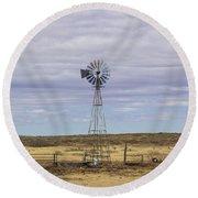 Oklahoma Windmill Round Beach Towel
