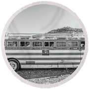 Old Abandoned Vintage Bus Jerome Arizona Round Beach Towel