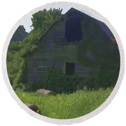 Old Barn And Hay Bales 2 Round Beach Towel
