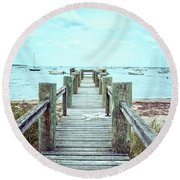 Old Dock Hyannis Port Cape Cod Ma Round Beach Towel