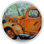 Old Dodge Truck At Patterson Farms Round Beach Towel