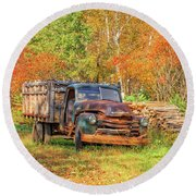 Old Farm Truck Fall Foliage Vermont Square Round Beach Towel