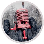 Old Farmall Farm Tractor Color Separation Nh Round Beach Towel