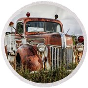 Old Fire Truck In The Mountains Round Beach Towel
