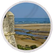 Old Fortress Guarding Tower In Portugal Round Beach Towel