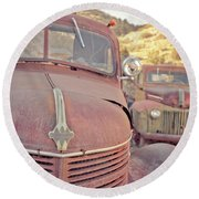 Old Friends Two Rusty Vintage Cars Jerome Arizona Round Beach Towel