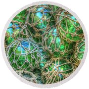 Old Glass Buoys Round Beach Towel