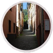 old historic lane in Cochem Germany Round Beach Towel