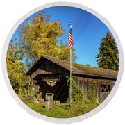 Old Hollow Covered Bridge Round Beach Towel