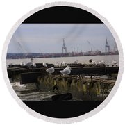Old New Jersey Pier Statue State Park II Round Beach Towel