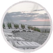 Old Orchard Beach Tranquil Morning Round Beach Towel