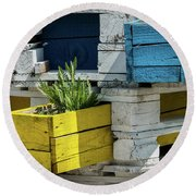 Old Pallet Painted White, Blue And Yellow Used As Flower Pot Round Beach Towel